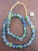 Blue Green Ghana Glass Beads (14x12mm)