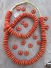 Orange Ashanti Ghana Glass Disk Beads (14x5mm)