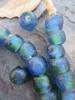 Blue Green Ghana Glass Beads (13x11mm)