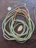 Pink & Green Ghana Glass Beads - 6 Strands (4x3mm)