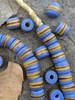 Blue Striped Kente Beads (8x10mm)