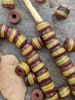 Brown Striped Kente Beads (8x10mm)