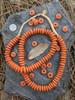 Orange Ashanti Ghana Glass Disk Beads (14x4-5mm)
