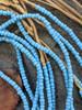 Blue Ghana Glass Beads - 6 Strands (4x3mm)