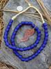 Cobalt Blue 'Bucket' Ghana Glass Beads (11x10mm)