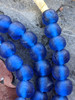 Blue 'Bucket' Ghana Glass Beads (11x10mm