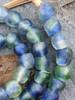 Blue-Green 'Bucket' Ghana Glass Beads (10x9mm)