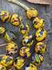 Yellow Fused Ghana Glass Beads (13x13mm)
