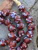 Red Fused Ghana Glass Beads (13x13mm)