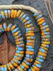 Blue & Orange Fused Ghana Glass Disk Beads (10x3mm)