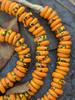 Orange Fused Ghana Glass Disk Beads (11x3mm)