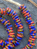 Orange & Blue Fused Ghana Glass Disk Beads (11-12x3-4mm)
