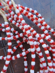 Red & White Ghana Glass Beads - 6 Strands (4x3mm)