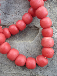 Red Krobo Glass Beads (14x12mm)