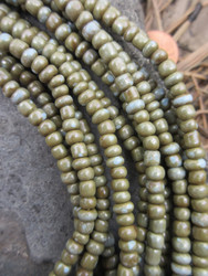 Olive Ghana Glass Beads - 6 Strands (4x3mm)