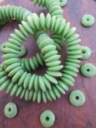 Green Ashanti Ghana Glass Disk Beads (14x4mm)