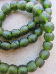 Forest Green Ghana Glass Beads (10x10mm)
