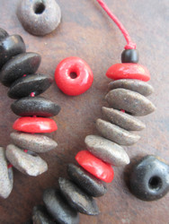 Mixed Ashanti Ghana Glass Disk Beads (14x4-6mm)