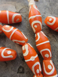 Orange African Fancy Glass Beads