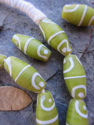 Olive Green African Fancy Glass Beads