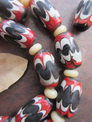 Vintage Chevron Glass Beads