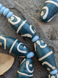 Teal African Fancy Glass Beads