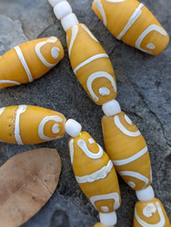Yellow African Fancy Glass Beads