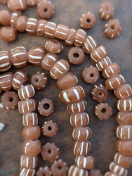 Brown Striped Gooseberry Beads