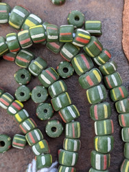 Green Striped Gooseberry Beads