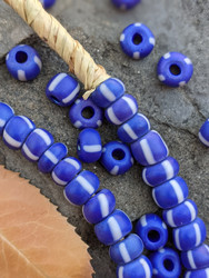 Blue Striped Padre Beads (7-8x4-5mm)
