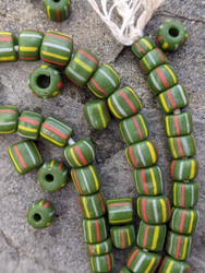 Green Striped Gooseberry Beads (5-6x4-6mm)