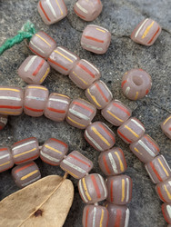 Pink Striped Gooseberry Beads