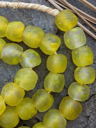 Yellow Cloud Ghana Glass Beads (13x12mm)