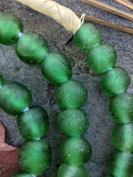 Green 'Bucket' Ghana Glass Beads (11x9mm