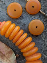 Orange Copal Disk Beads