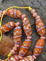 Peachy Pink African Fancy Glass Beads