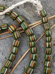 Green Striped Gooseberry Beads