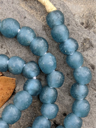 Steel Blue 'Bucket' Ghana Glass Beads (10x9mm)