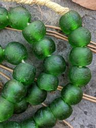 Forest Green Ghana Glass Beads (14x13mm)