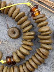 Dark Brown Ashanti Ghana Glass Disk Beads (13-14x4mm)