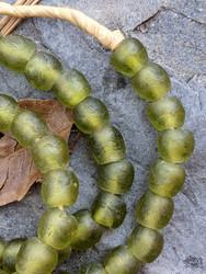 Olive Green Ghana Glass Beads (10x9mm)