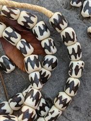 Chevron Batik Bone Beads (9x11-12mm)
