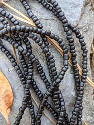 Black Ghana Glass Beads - 3 Strands
