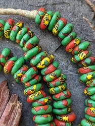 Green Fused Ghana Glass Disk Beads (14-15x5mm)
