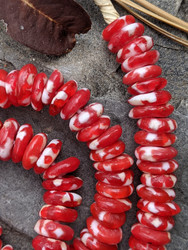 Red & White Fused Ghana Glass Disk Beads (9x3-4mm)