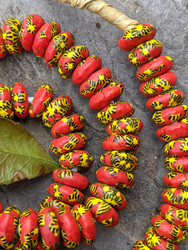 Red & Yellow Fused Ghana Glass Disk Beads (12-13x5mm)
