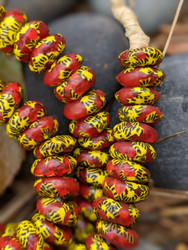 Red & Yellow Fused Ghana Glass Disk Beads (14x5mm)