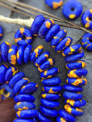 Black & Yellow Fused Ghana Glass Disk Beads (13x5mm)