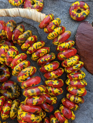 Yellow & Red Fused Ghana Glass Disk Beads (14x5mm)