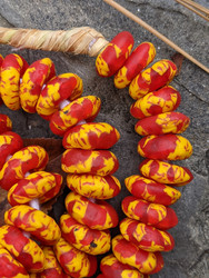 Red & Yellow Fused Ghana Glass Disk Beads (13-14x5-6mm)